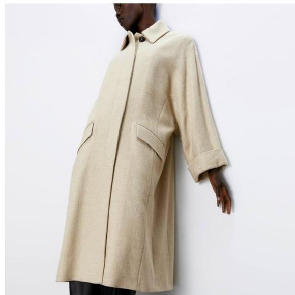 Zara Long Oversized Wool Blend Winter Coat